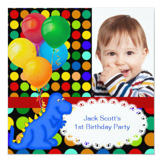 "Boy First Birthday Party 1st Dinosaur Spots 5.25"" Square Invitation Card"