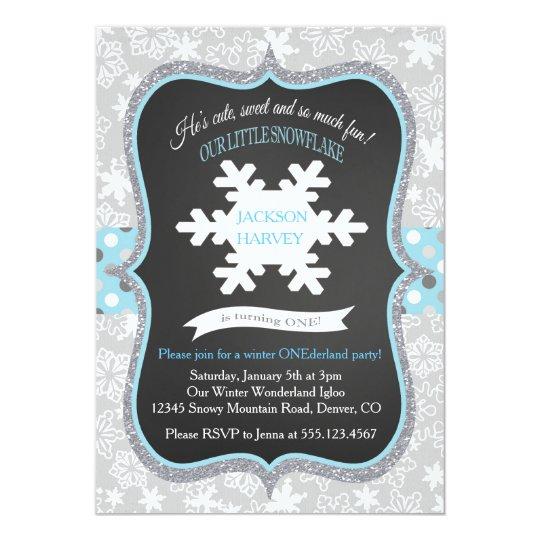 Boy First Birthday Winter ONEderland Invitation