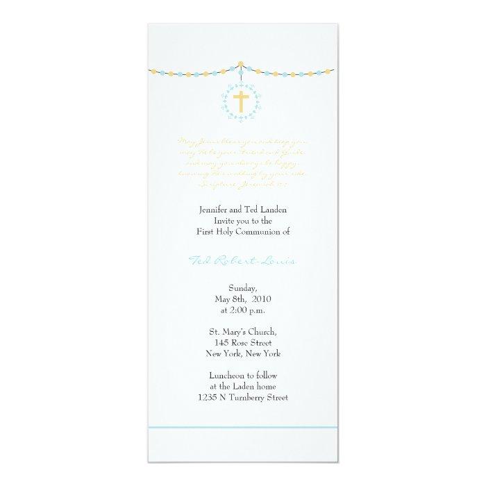 Boy First Communion 10 Cm X 24 Cm Invitation Card