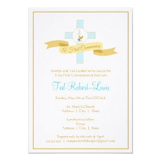 Boy First Communion Invitation - Blue