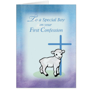 Boy First Confession, Lamb, Cross on Blue Backgrou Card