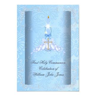 Boy First Holy Communion Blue Boys 13 Cm X 18 Cm Invitation Card