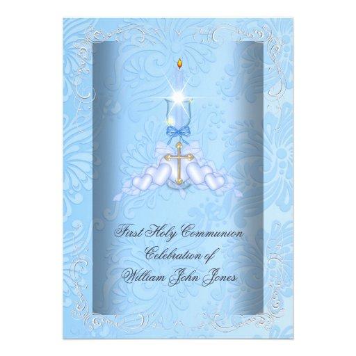 Boy First Holy Communion Blue Boys Custom Invitations