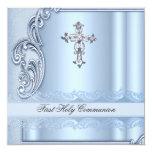 Boy First Holy Communion Blue Confirmation 13 Cm X 13 Cm Square Invitation Card