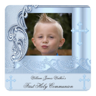 Boy First Holy Communion Blue Photo Confirmation 2 Card