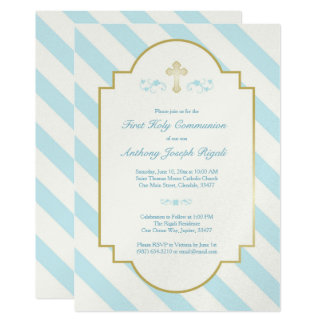 Boy First Holy Communion Invitation Blue Stripes