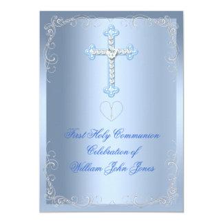 Boy First Holy Communion Silver Blue 13 Cm X 18 Cm Invitation Card