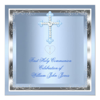 "Boy First Holy Communion Silver Blue 2 5.25"" Square Invitation Card"