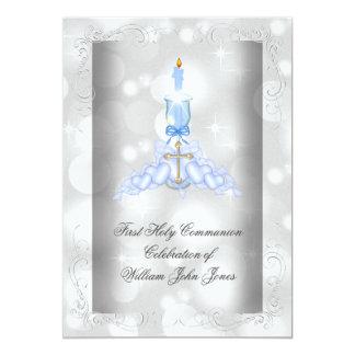 Boy First Holy Communion Silver Blue Boys 13 Cm X 18 Cm Invitation Card