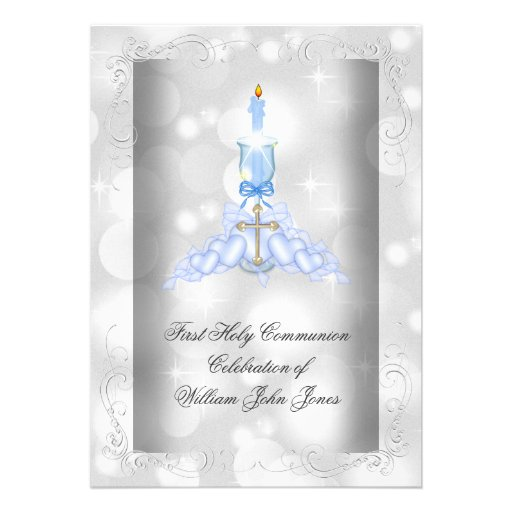 Boy First Holy Communion Silver Blue Boys Personalized Announcement