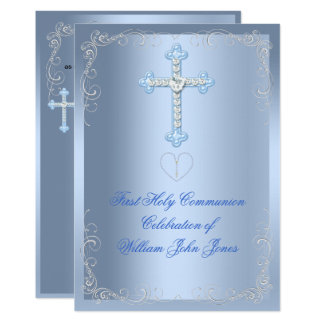 Boy First Holy Communion Silver Blue Card