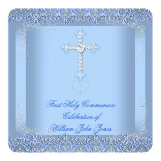 Boy First Holy Communion Silver Blue Personalized Invites