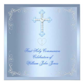 "Boy First Holy Communion Silver Blue 5.25"" Square Invitation Card"