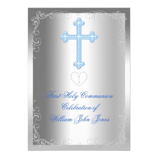 Boy First Holy Communion Silver Blue Custom Invites