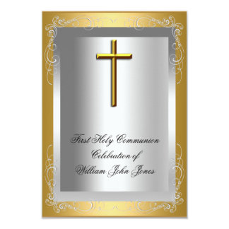 Boy First Holy Communion Silver Gold Cross Personalized Invitation