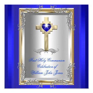 Boy First Holy Communion Silver Gold Royal Blue 2 13 Cm X 13 Cm Square Invitation Card