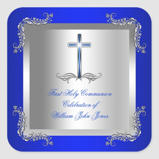 Boy First Holy Communion Silver Royal Blue 2T Square Sticker