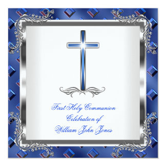 Boy First Holy Communion Silver Royal Blue 3 Personalized Invite