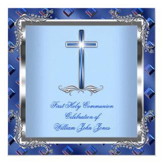 Boy First Holy Communion Silver Royal Blue 4 13 Cm X 13 Cm Square Invitation Card