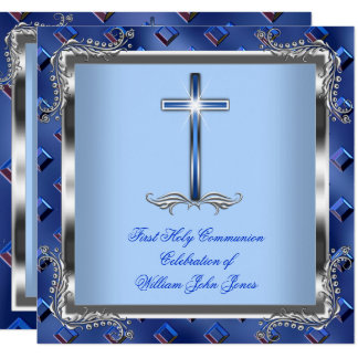 Boy First Holy Communion Silver Royal Blue 4 Card