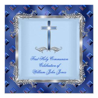 Boy First Holy Communion Silver Royal Blue 4C 13 Cm X 13 Cm Square Invitation Card