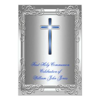 Boy First Holy Communion Silver Royal Blue 9 Cm X 13 Cm Invitation Card