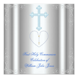 "Boy First Holy Communion Silver White Blue 5.25"" Square Invitation Card"