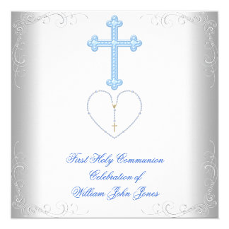 Boy First Holy Communion White Blue 13 Cm X 13 Cm Square Invitation Card