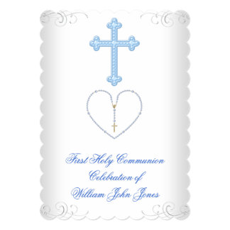 Boy First Holy Communion White Blue Silver Announcement