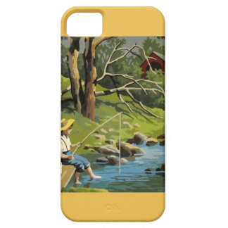 boy fishing lake fish vintage paint by numbers iPhone 5 cover