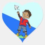Boy Flying Paper Aeroplane Heart Stickers