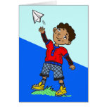 Boy Flying Paper Aeroplane Note Card