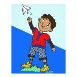 Boy Flying Paper Aeroplane Personalised Flyer