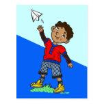Boy Flying Paper Aeroplane Post Card