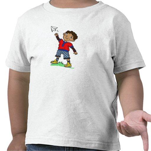 Boy Flying Paper Aeroplane T Shirts