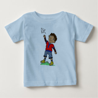 Boy Flying Paper Airplane Baby T-Shirt