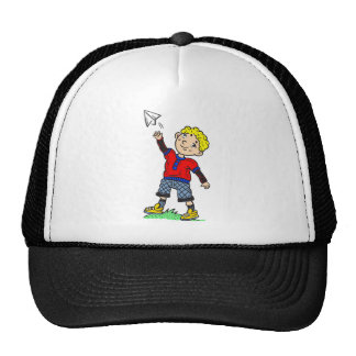 Boy Flying Paper Airplane Cap
