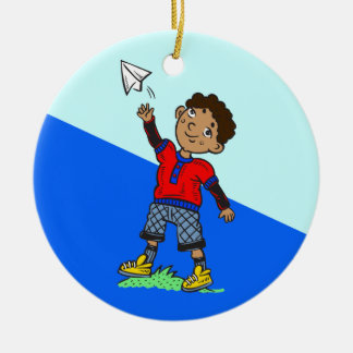Boy Flying Paper Airplane Christmas Ornament