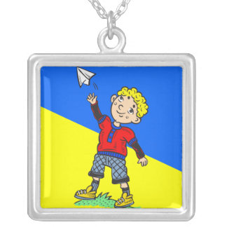 Boy Flying Paper Airplane Square Pendant Necklace