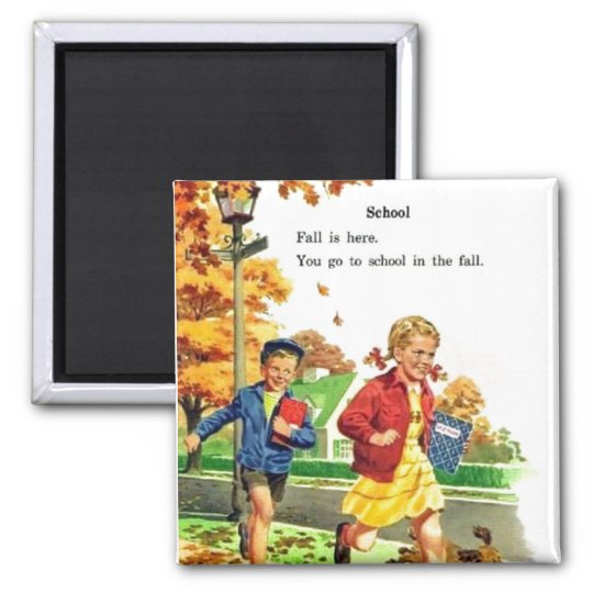 Boy & Girl Back to School Square Magnet
