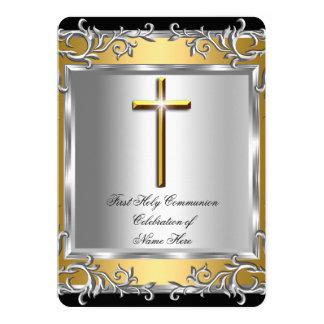 Boy Girl First Holy Communion Silver Gold 2 13 Cm X 18 Cm Invitation Card
