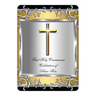 Boy Girl First Holy Communion Silver Gold 2 Card