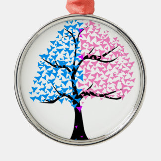 Boy Girl Hearts Tree Silver-Colored Round Decoration