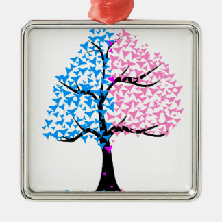 Boy Girl Hearts Tree Silver-Colored Square Decoration