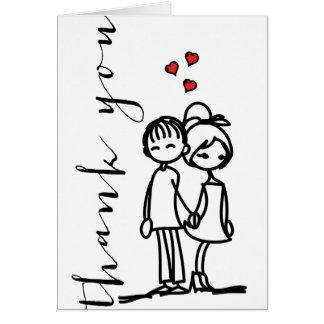 Boy & Girl In Love Doodles Wedding Thank You Card