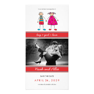 Boy + Girl = Love Cute Save The Date Photo Card