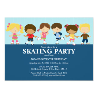 Boy/Girl Skaters | Blue Birthday Party Invite