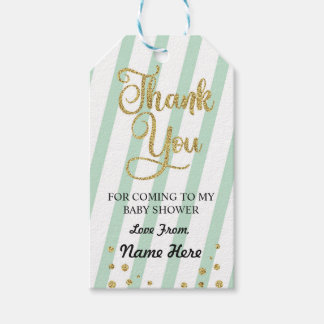 Boy Girl Thank You Baby Shower Mint Gender Reveal Gift Tags