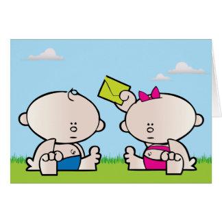 Boy Girl twin greeting card