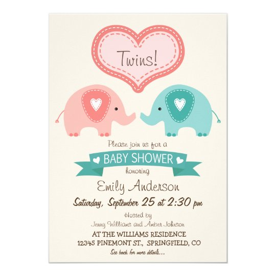 Boy & Girl Twin Pink & Teal Elephants